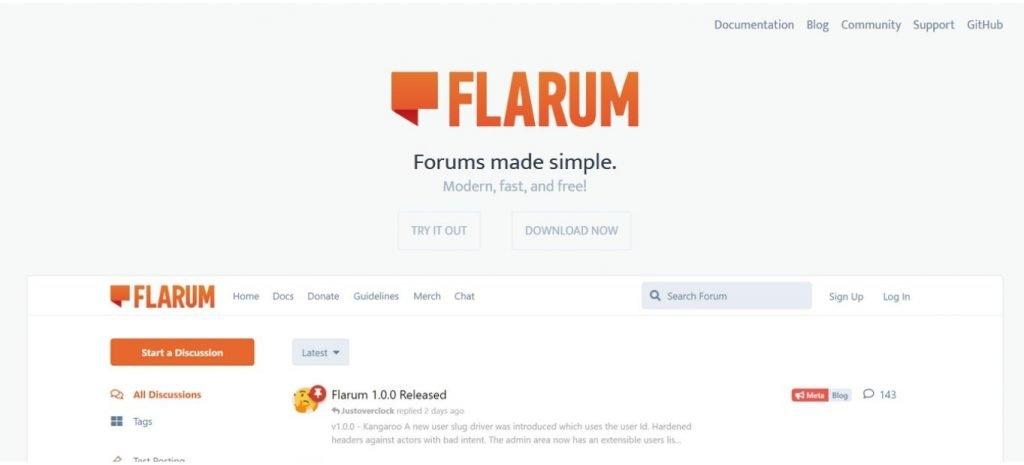 No-code or low-code tools flarum.com homepage No-code or low-code tools